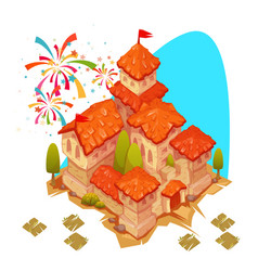 Sandy castle with red roof vector