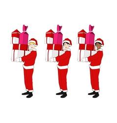 Santa Boy Blonde Brown Black Holding Presents vector image