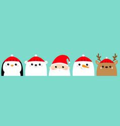 Santa claus white polar bear snowman raindeer vector
