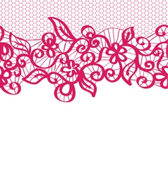 seamless red lace with floral pattern vector image