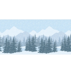 Seamless winter landscape with fir trees vector image