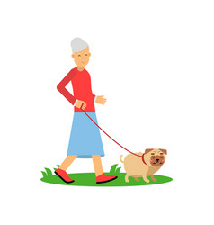 Senior woman walking with a dog pensioner people vector