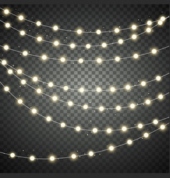 set christmas lights garland holiday vector image