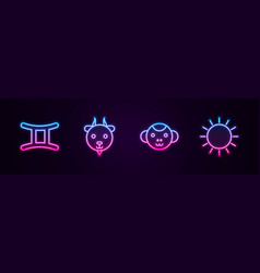 Set line gemini zodiac aries monkey and sun vector