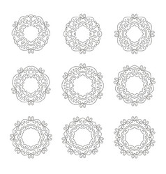 set nine elegant hand drawn retro floral frame vector image