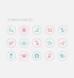 Set of 15 editable animal icons line style vector
