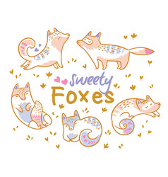 set of cute cartoon foxes cats ideal for patch vector image