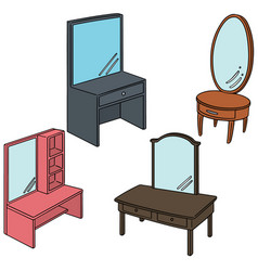 set of dressing table vector image
