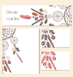 Set of identity templates with drawn dream catcher vector