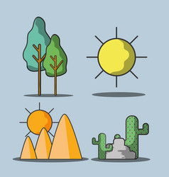 set trees and mountains with cactus and sun vector image