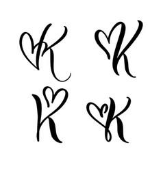 Set vintage floral letter monogram k vector