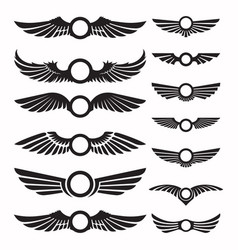 Set wing signs design elements vector