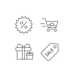 Shopping cart gift box and sale coupon icons vector