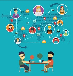 Social media network concept with people with vector image