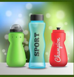 Sport athlete bottles composition vector