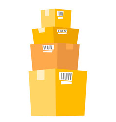 Stack of cardboard boxes vector