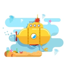 Submarine Under Water vector image