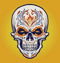 sugar skull dia de los muertos tattoo vector image
