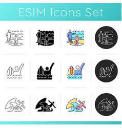 surfboarding icons set vector image