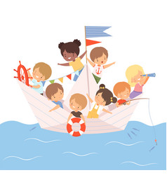Team cute little kids sailing on a paper boat vector