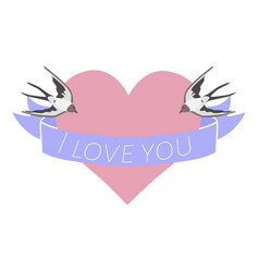 valentines day with birds on heart over white vector image