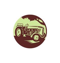 Vintage Farm Tractor Circle Woodcut vector