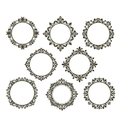 Vintage floral frames set vector image
