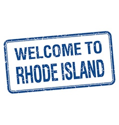 Welcome to Rhode Island blue grunge square stamp vector