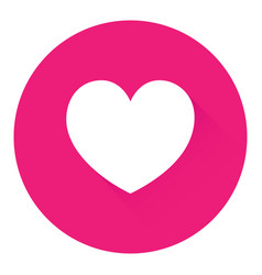 white heart in a pink circle in flat design vector image