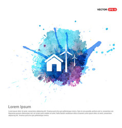 Windturbines icon - watercolor background vector