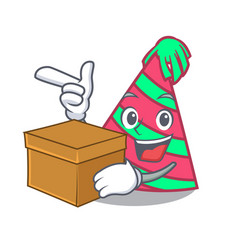 with box party hat character cartoon vector image