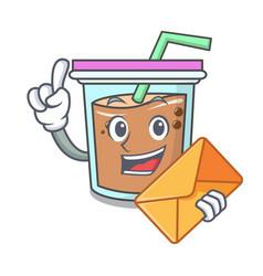 With envelope bubble tea character cartoon vector