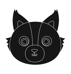 wolf muzzle icon in black style isolated on white vector image