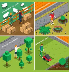 working on farm 2x2 design concept vector image