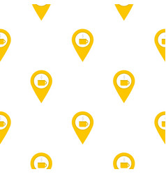 Yellow map geo tag with tea or coffee cup pattern vector