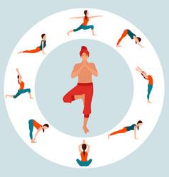 yoga man and poses woman asana tranquility vector image
