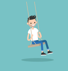 Young bearded man sitting on the swing editable vector