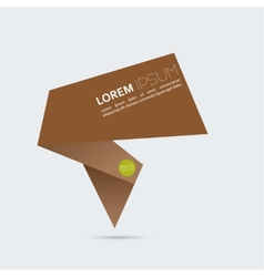 Abstract background with origami brown speech vector image