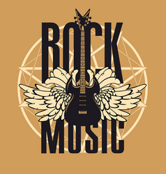 banner for rock music with guitar and wings vector image vector image