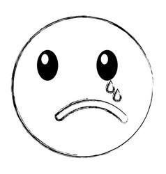 crying emoticon face kawaii style vector image vector image