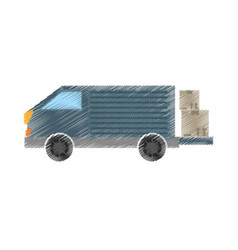 drawing truck delivery transport cardboard box vector image