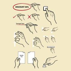 Hand signs write zoom in zoom out etc vector