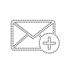 mail sign with add mark vector image vector image