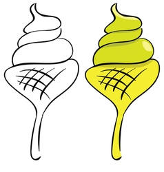 set Ice cream Black outline and painted vector image vector image