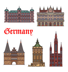 German tourist sight and travel landmark icon set vector