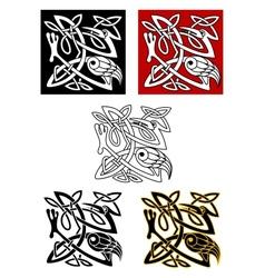 Ornamental birds in celtic style vector image vector image
