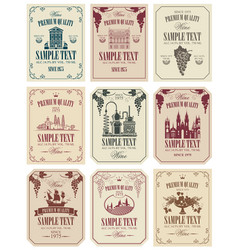 set of labels for wine in retro style vector image