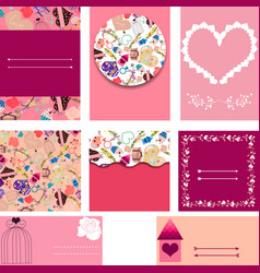 set of templates for cards wedding invitation vector image vector image