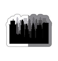 sticker frame silhouette cityscape scene night vector image vector image