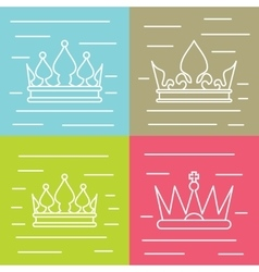 White line crown icons on color background vector image vector image
